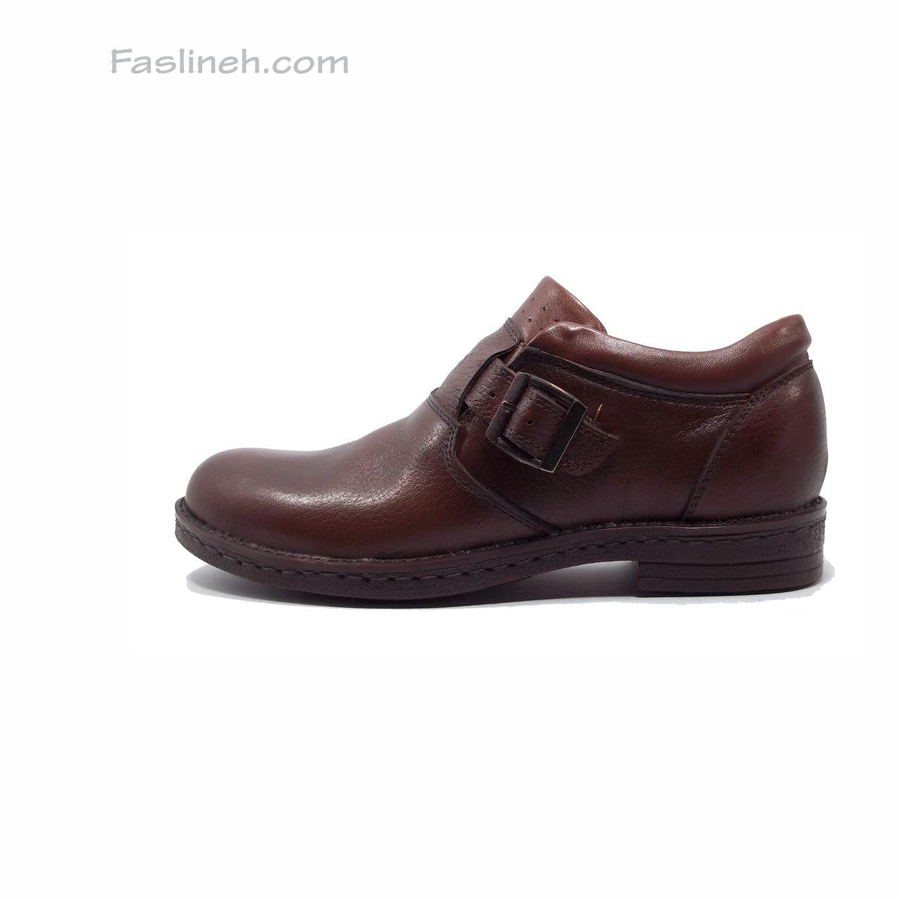 کفش چرم رکاب دار سودا قهوه ای