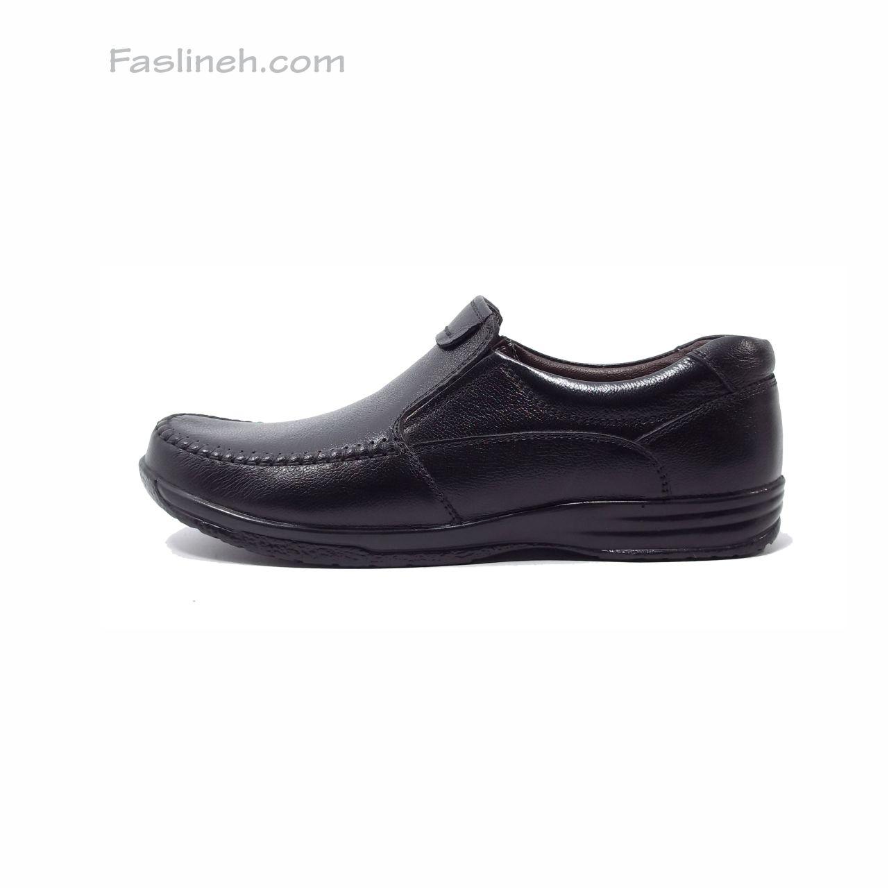 کفش چرم راحتی  بدون بند شاکری مشکی