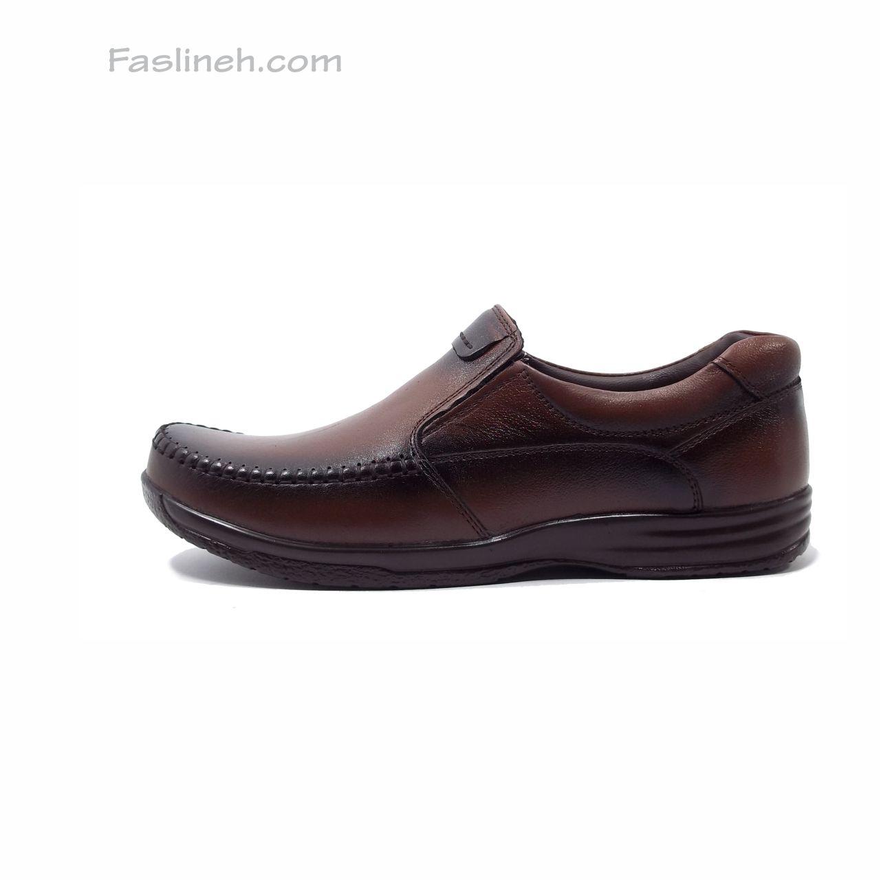 کفش چرم راحتی بدون بند شاکری قهوه ای