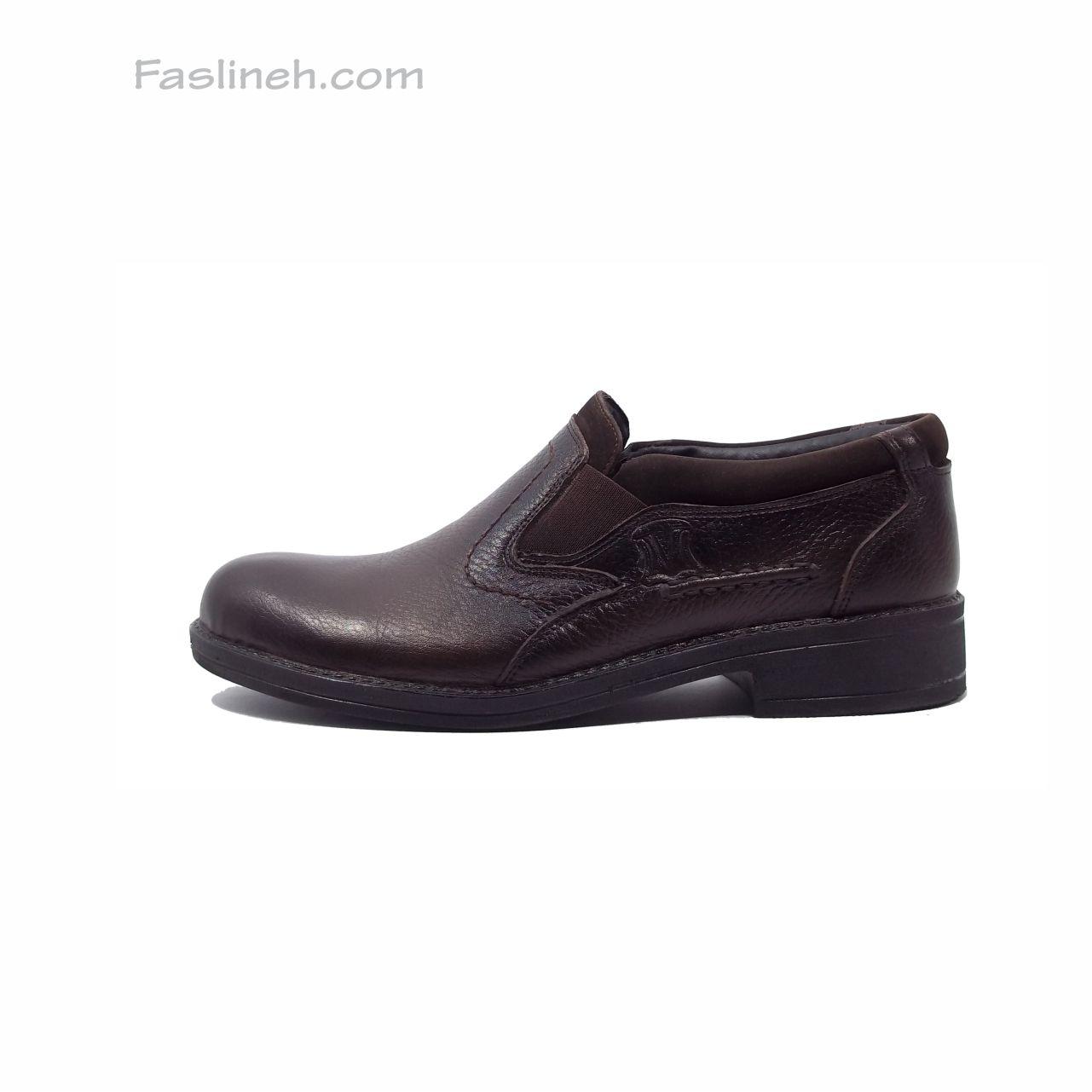 کفش چرم طرح کلارک بدون بند ترک شوز قهوه ای