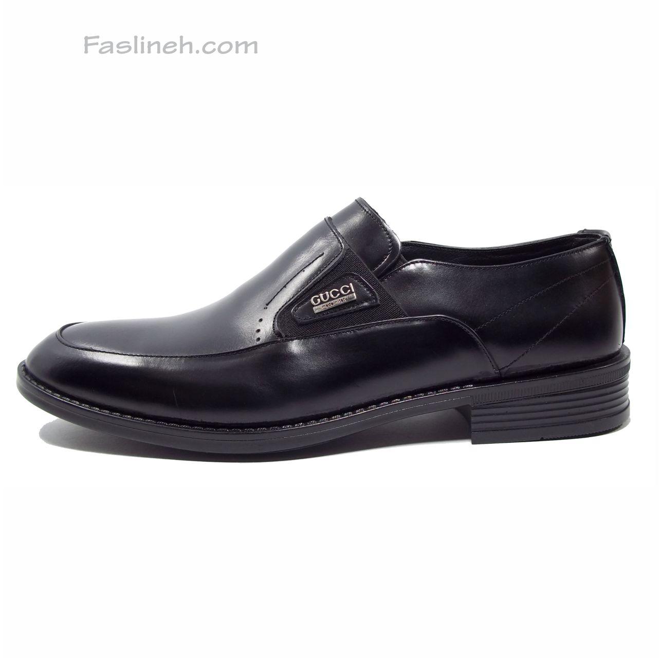 کفش چرم بدون بند لاتن مشکی